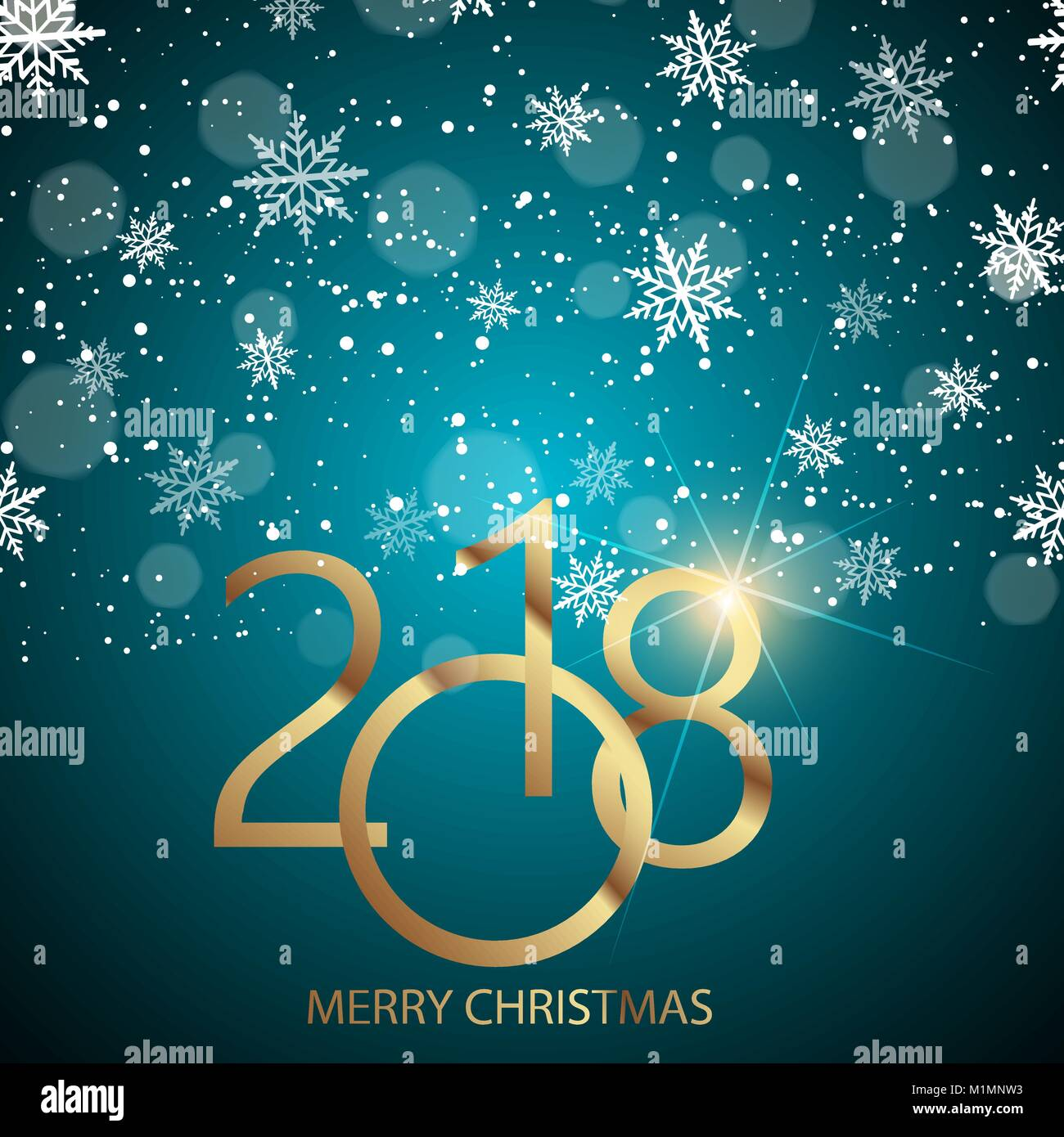Happy New Year Greeting Card With Shining Gold Text And Snow On Blue