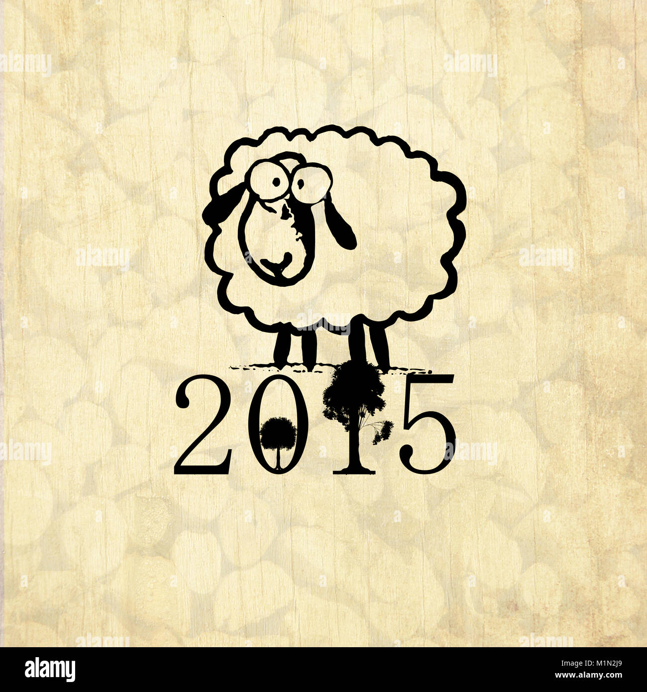 Chinese new year greeting card with symbol of 2015 cute drawing chinese new year greeting card with symbol of 2015 cute drawing sheep and with wood background kristyandbryce Image collections