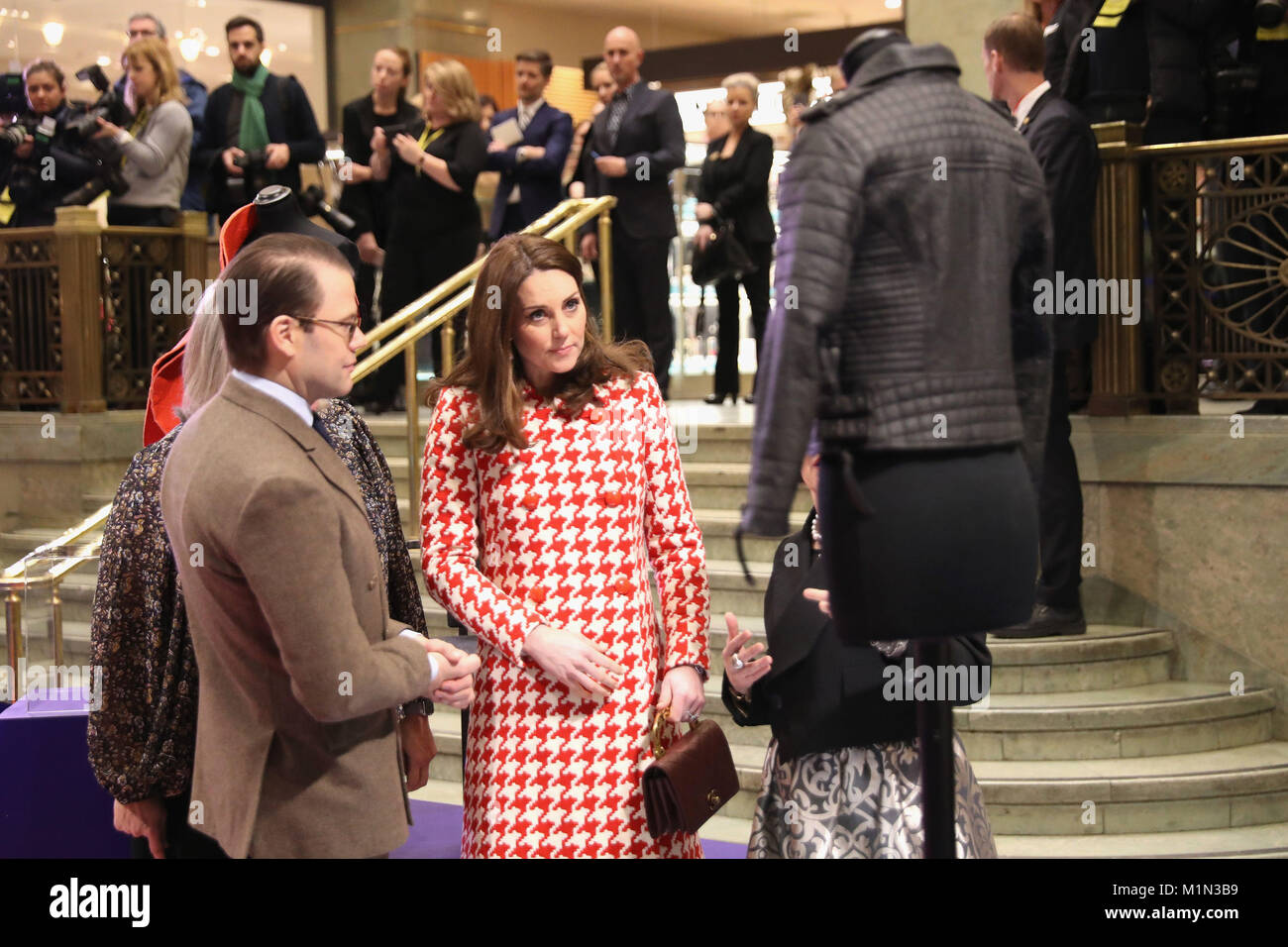 The Duchess of Cambridge, accompanied by Prince Daniel of Sweden, visits  the NK department store in Stockholm to open an interactive exhibition of UK  design ...