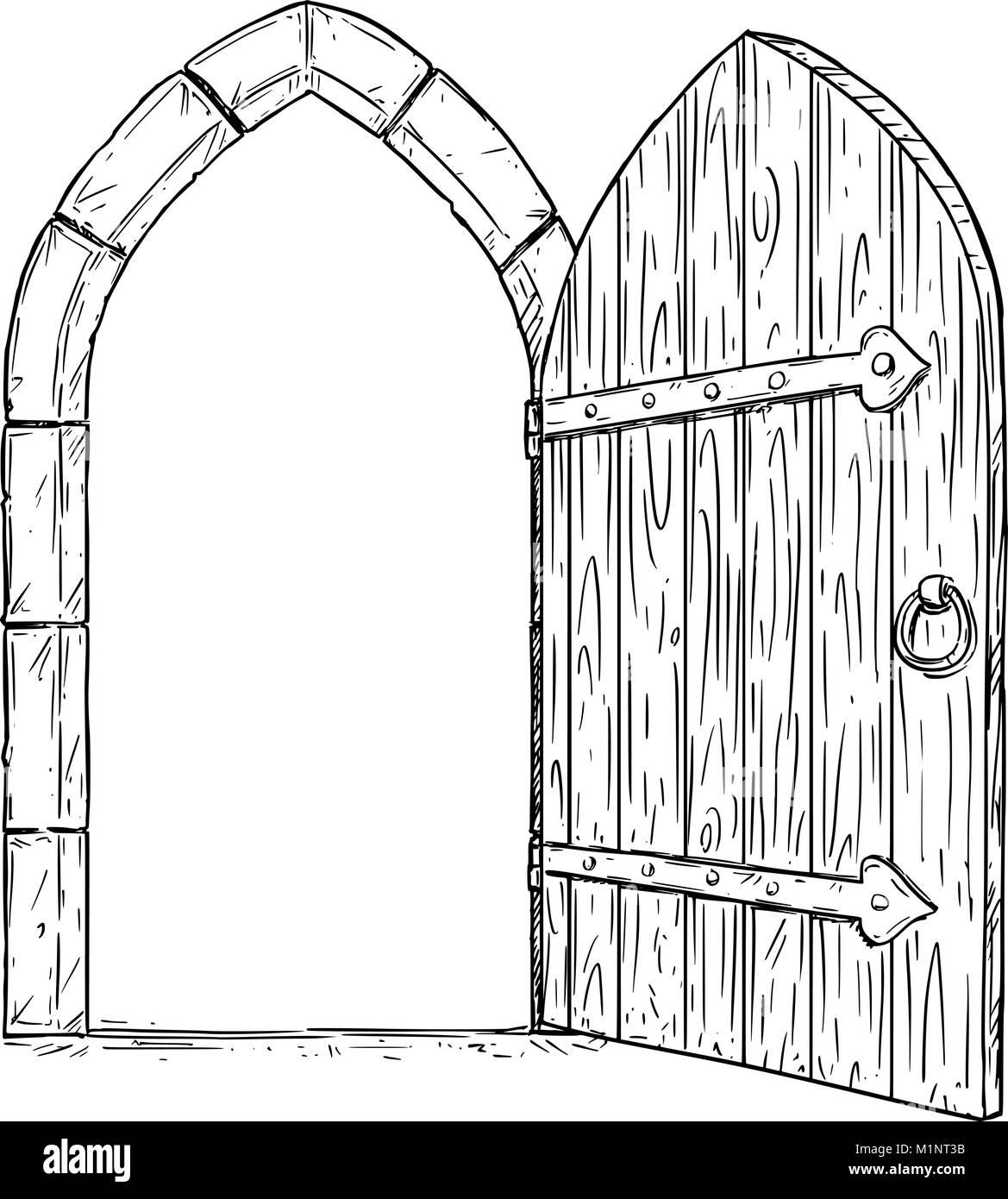 open door drawing clip art cartoon vector drawing of open wooden medieval decision door stock