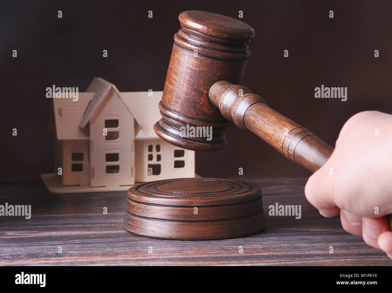 House For Sale Auction Hammer Symbol Of Authority And Miniature