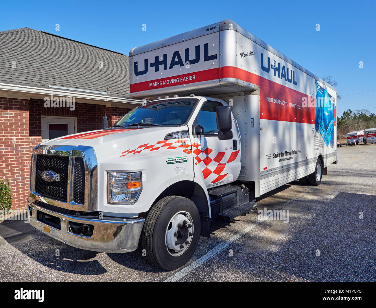 front of large 26 foot uhaul rental moving truck or van used for a