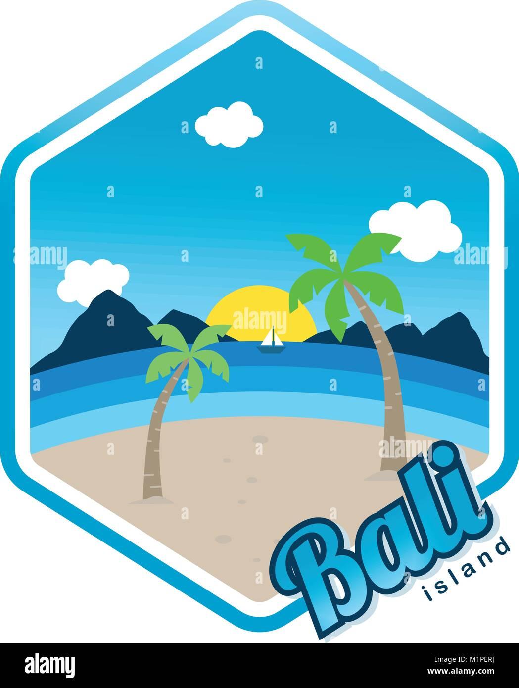 beach time tropical island bali summer vacation vector art logo