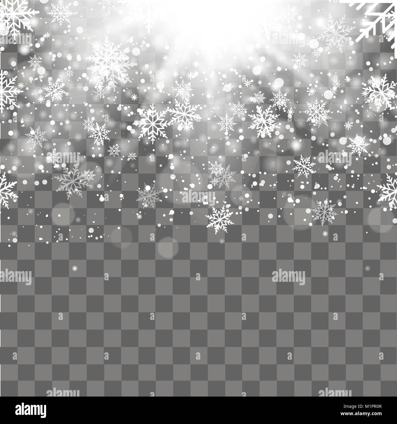 christmas and new year transparent background with falling gold snowflakes vector