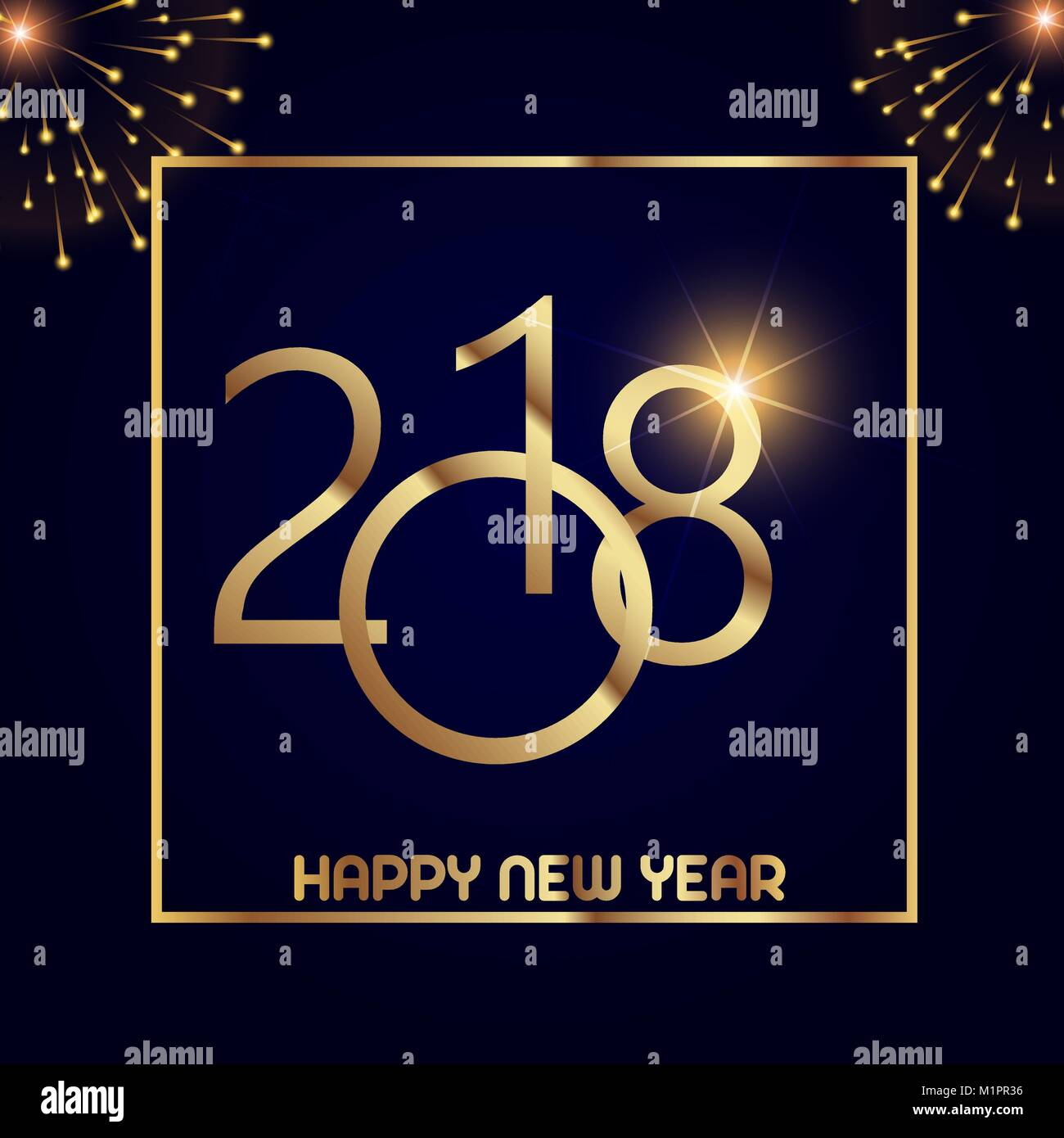 happy new year greeting card with shining gold text and firewolks on black background 2018 vector