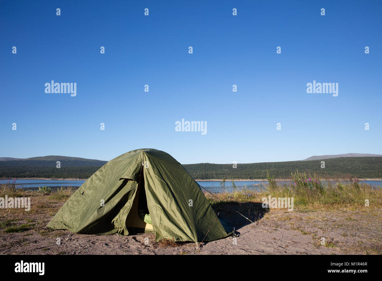 Tent in swedish wilderness during midsummer c&ing near the river moon in the background & Tent in swedish wilderness during midsummer camping near the ...