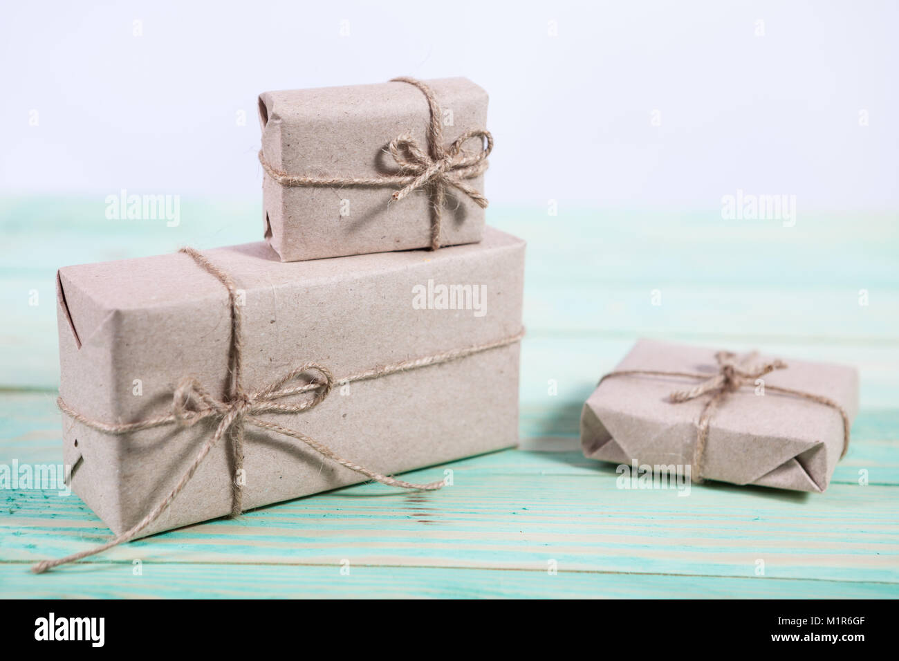 Presents for any holiday concept. Border of decorative gifts wrapped ...