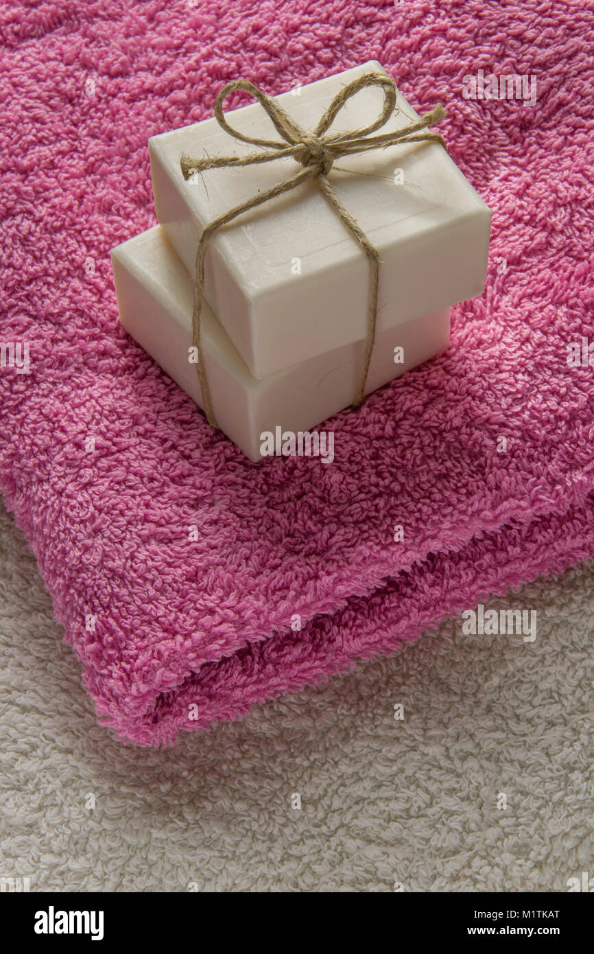 Two gift soap bar on soft towels with space for text Stock Photo ...