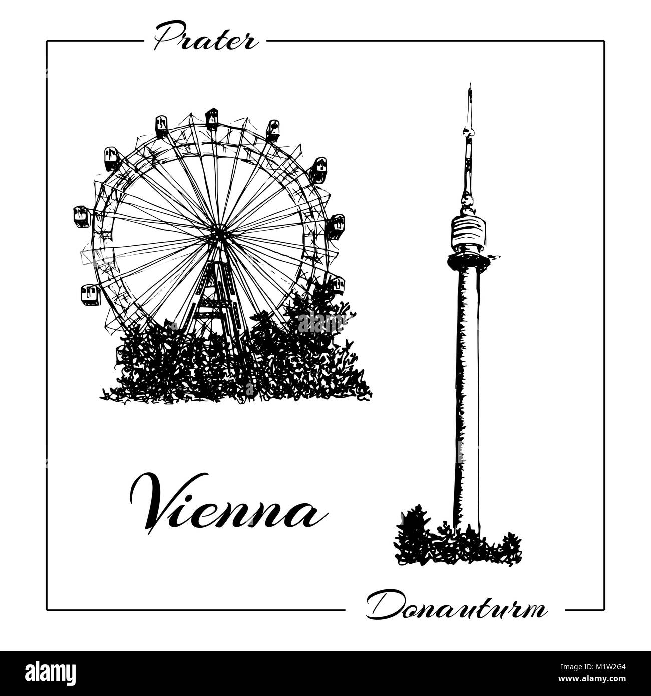 Ferris wheel cut out stock images pictures alamy vienna symbol vector hand drawn ink pen sketch illustration donauturm prater stock biocorpaavc