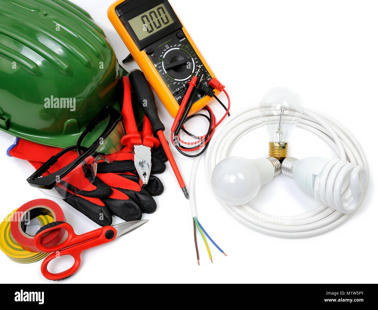 Safety Equipment Work Tools And Components For A Residential Stock Electric Wiring Electrical Installation Photographed On White Background