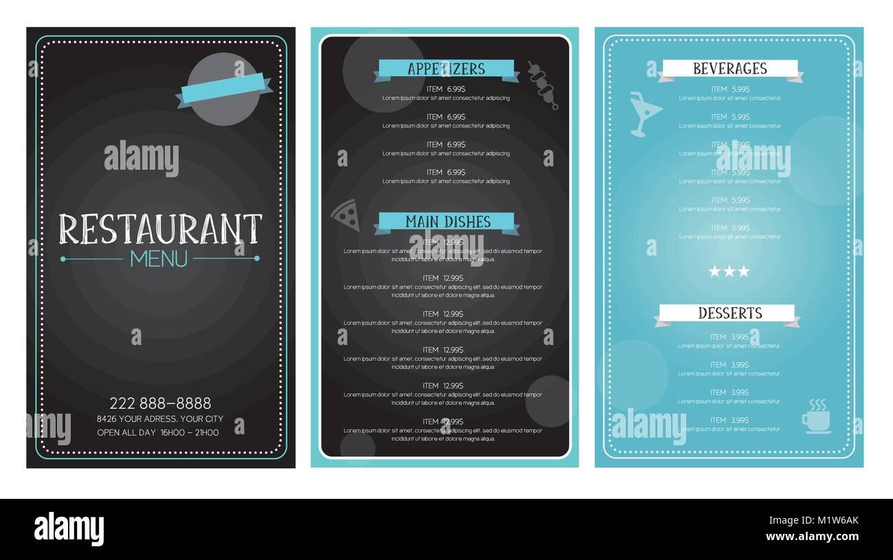 restaurant menu flyer template design vector black and blue font