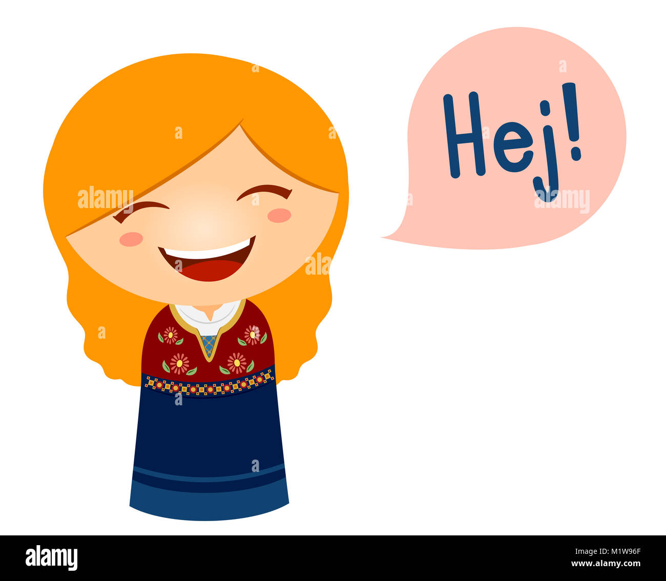 cute illustration of a little girl in a danish costume saying hello