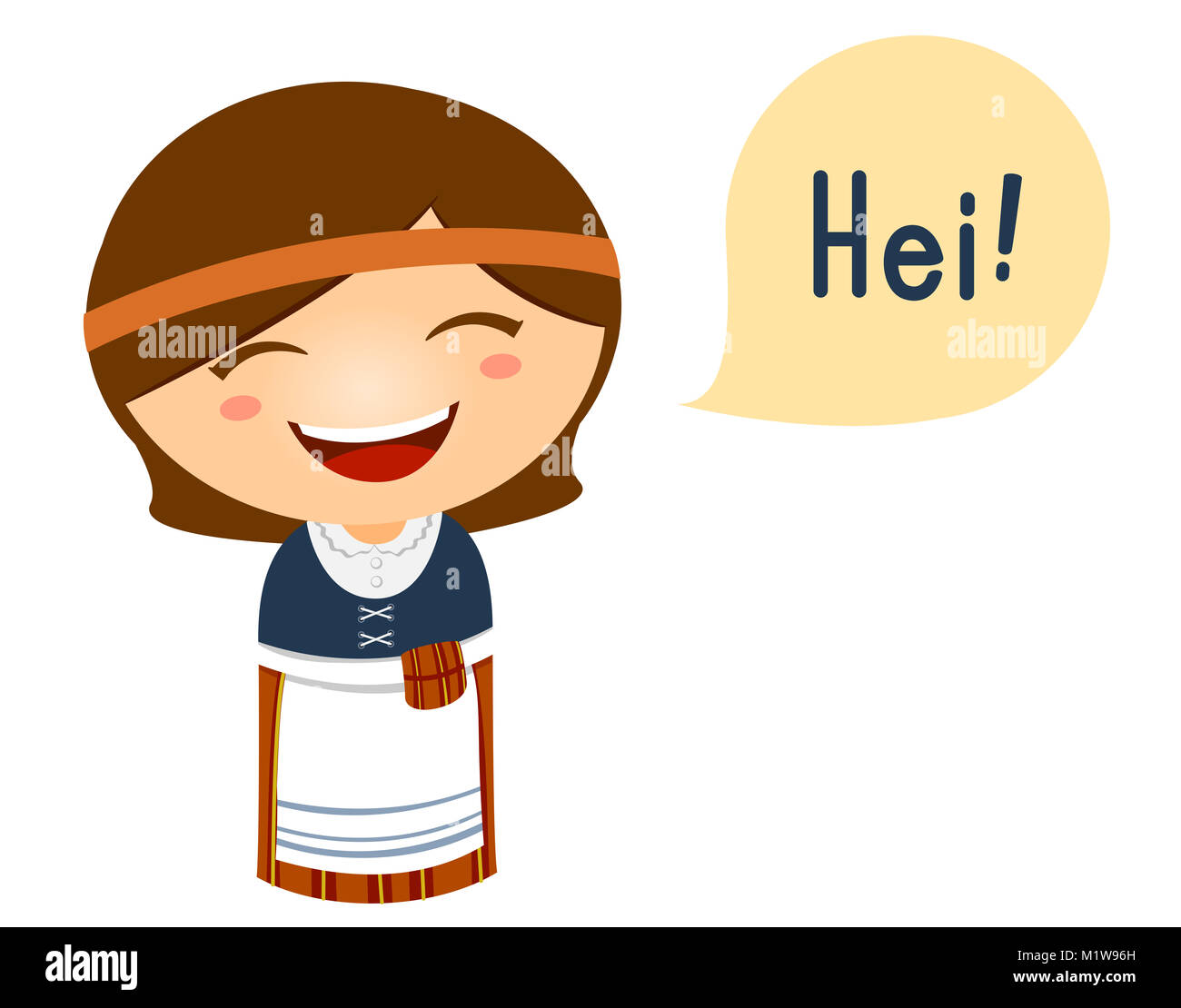 cute illustration of a little girl in a finnish costume saying hello