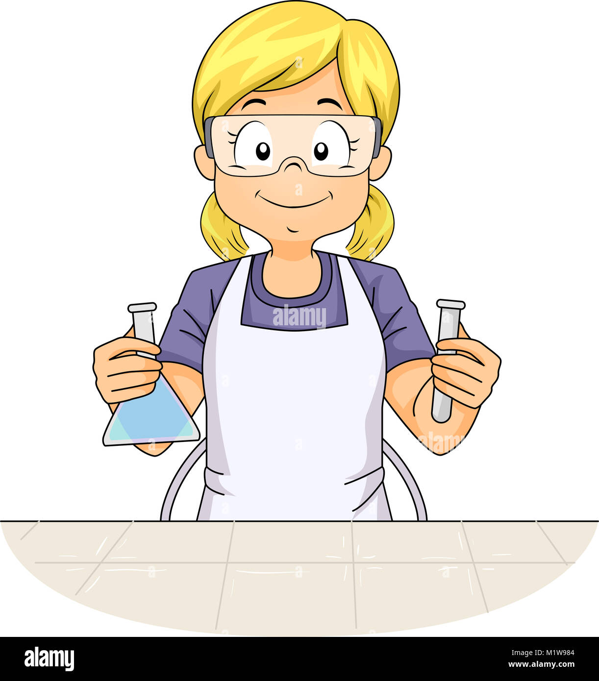 illustration featuring a little girl wearing an apron and a pair of