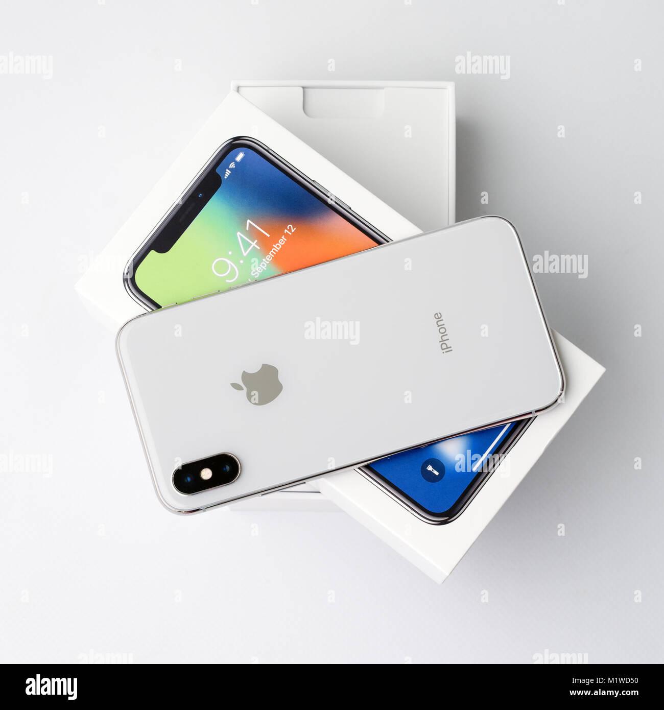 Kyiv Ukraine 26 January 2018 New Iphone X Smartphone Model