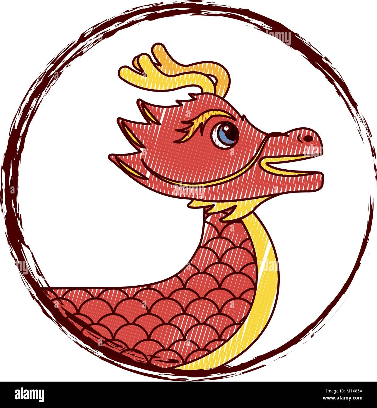 Drawing red chinese dragon symbol stock vector art illustration drawing red chinese dragon symbol biocorpaavc