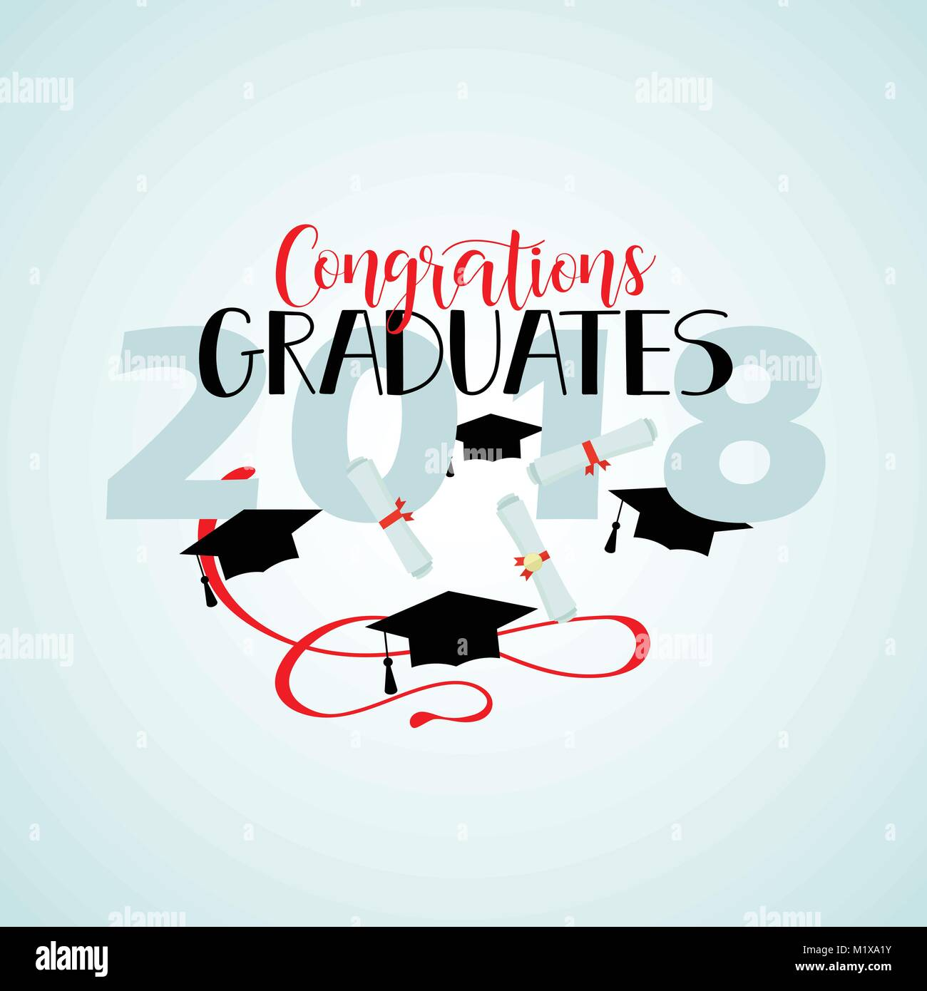 congratulations graduates 2018 poster template with lettering