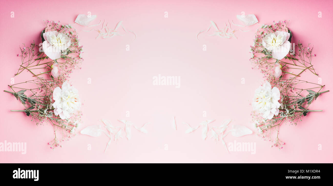 Beautiful Flowers Frame On Pastel Pink Background Top View Banner