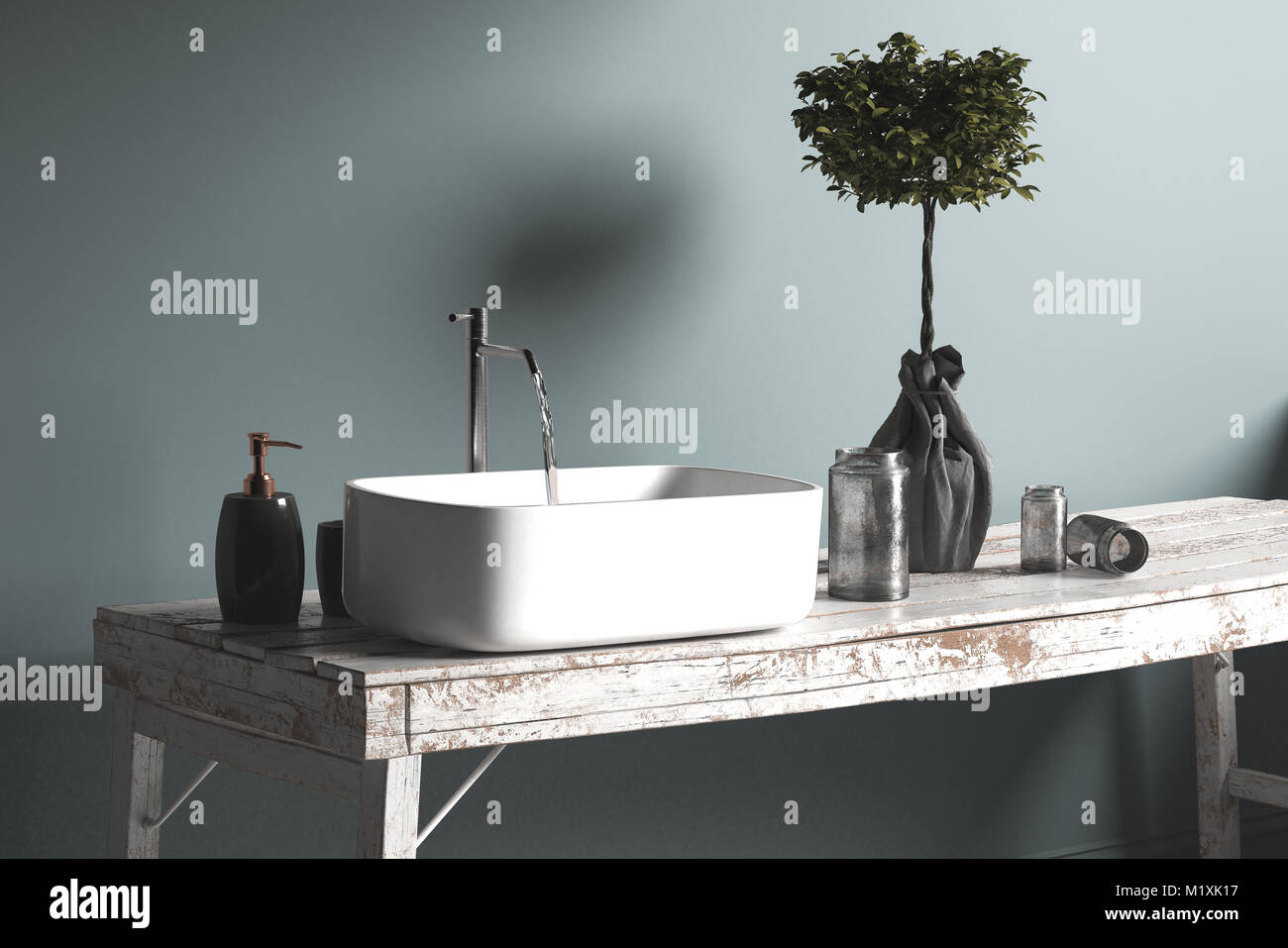 Rustic simple bathroom hand basin or vanity with running water from ...
