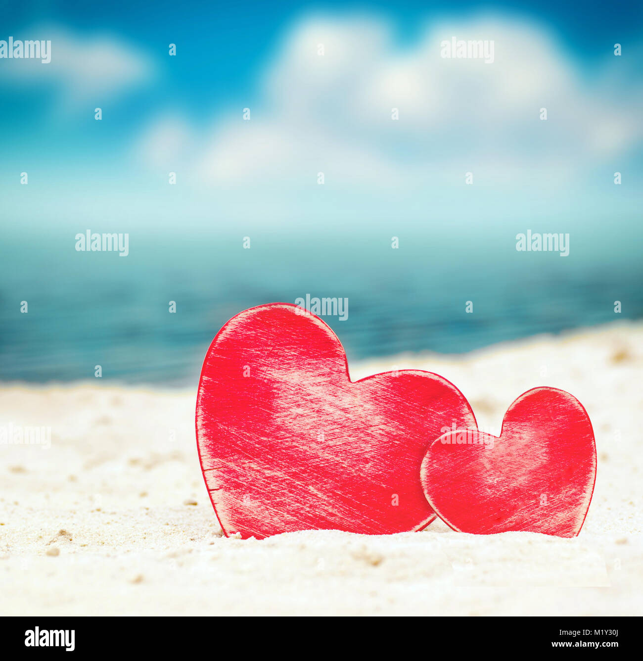 Two Hearts On The Summer Beach Valentines Day Stock Photo