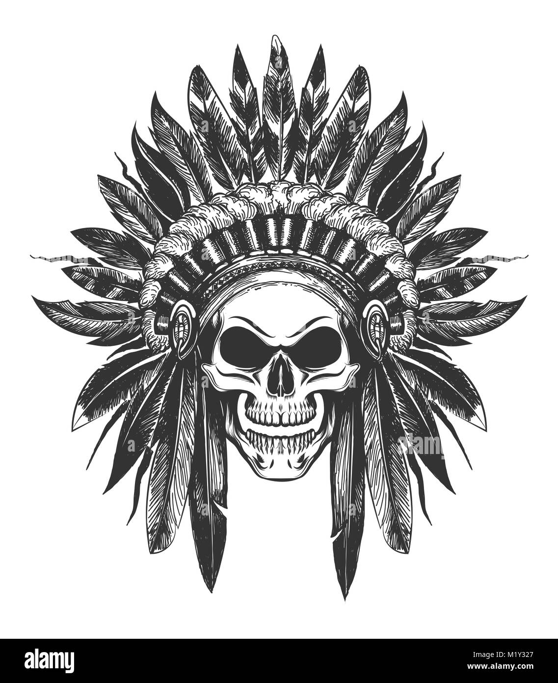 Human Skull In Native American Indian War Bonnet Drawn In Tattoo