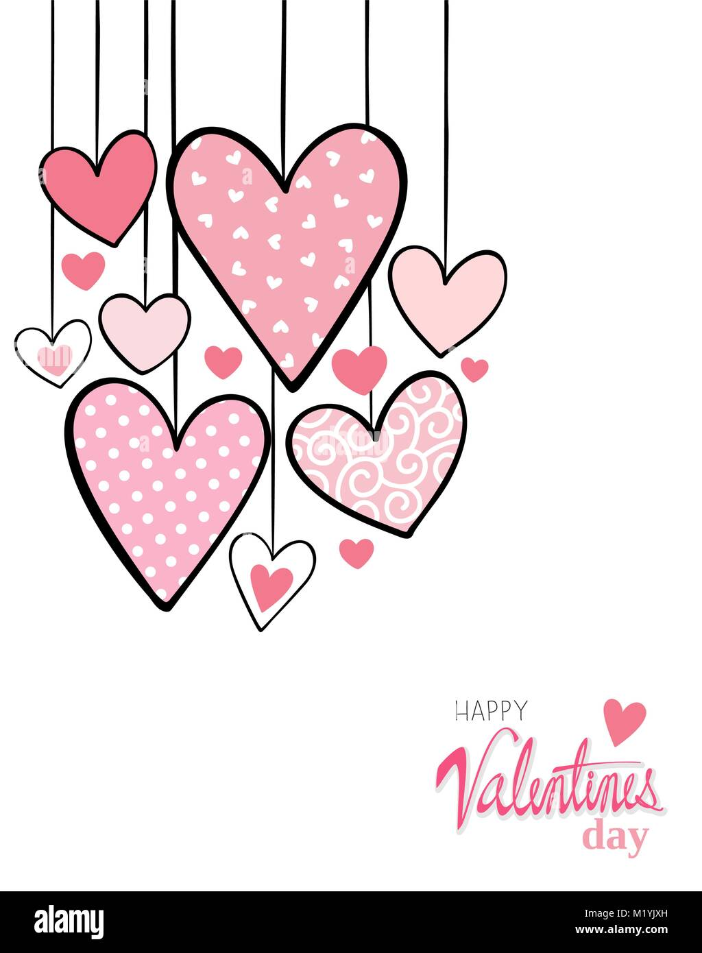 Valentines Day Card Background With Cute Hanging Hearts And Text On