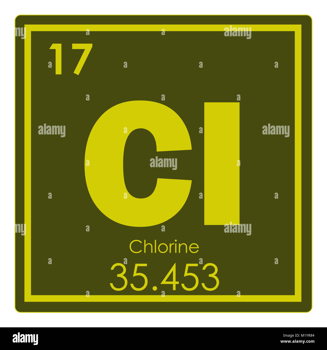 Chlorine Chemical Element Periodic Table Science Symbol Stock Photo