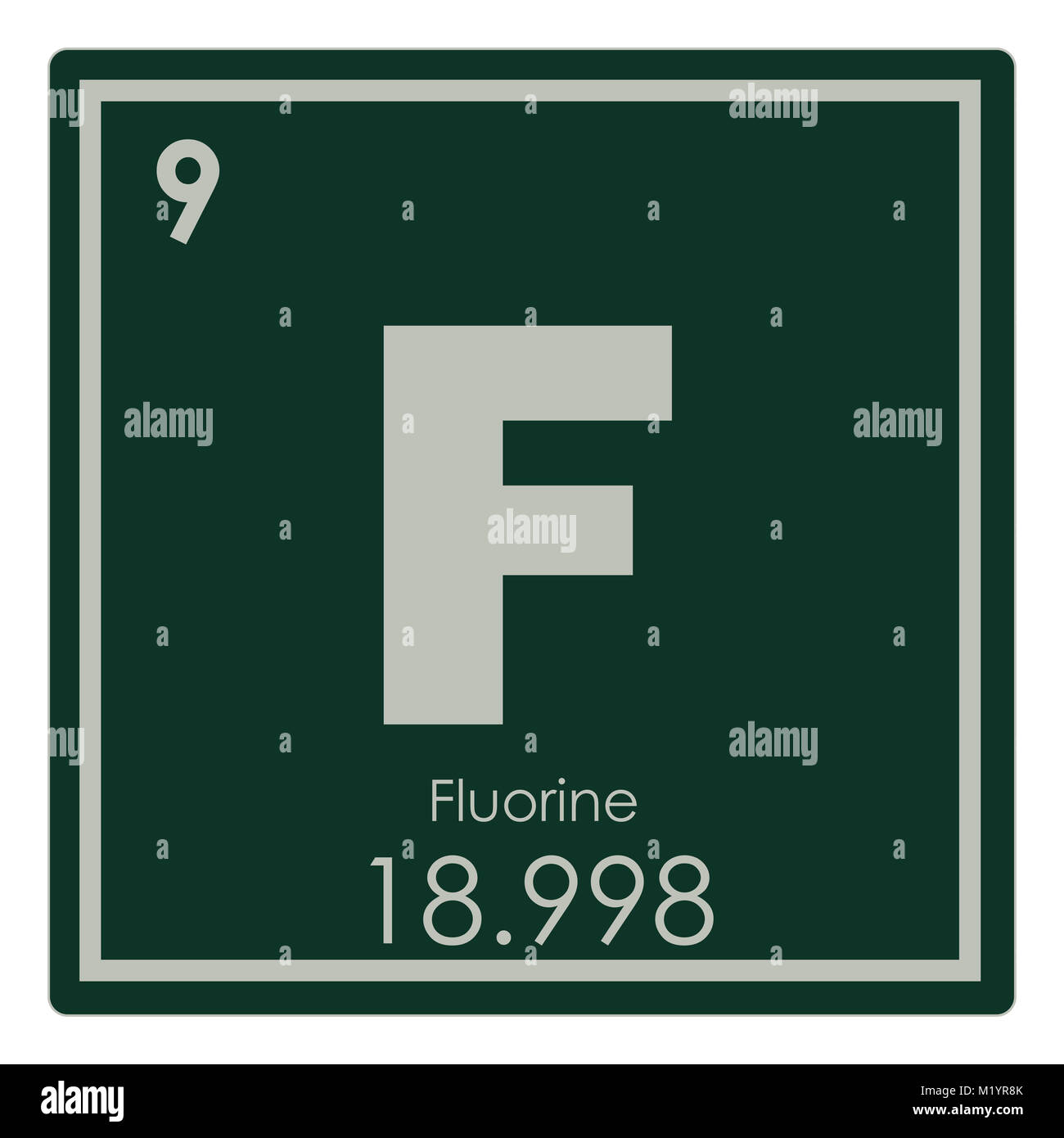 Fluorine Chemical Element Periodic Table Science Symbol Stock Photo