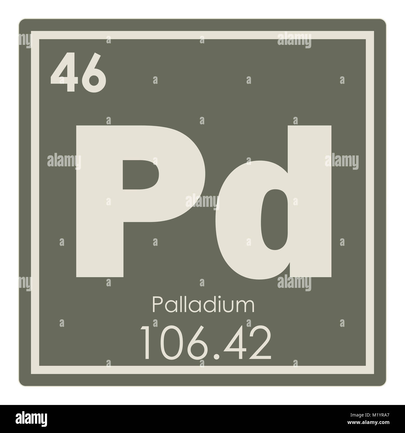 Palladium Chemical Element Periodic Table Science Symbol Stock Photo