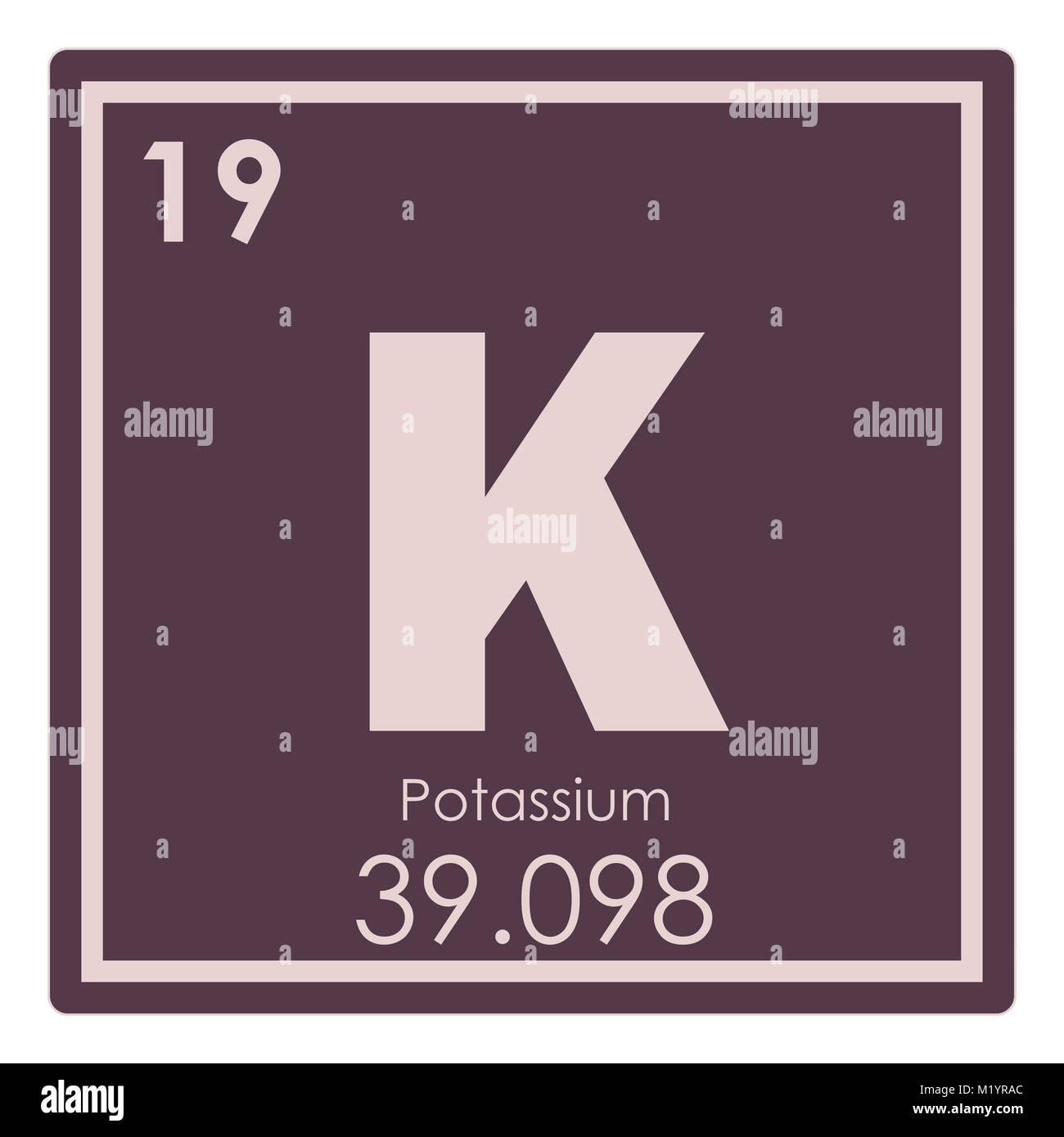 Potassium Chemical Element Periodic Table Science Symbol Stock Photo