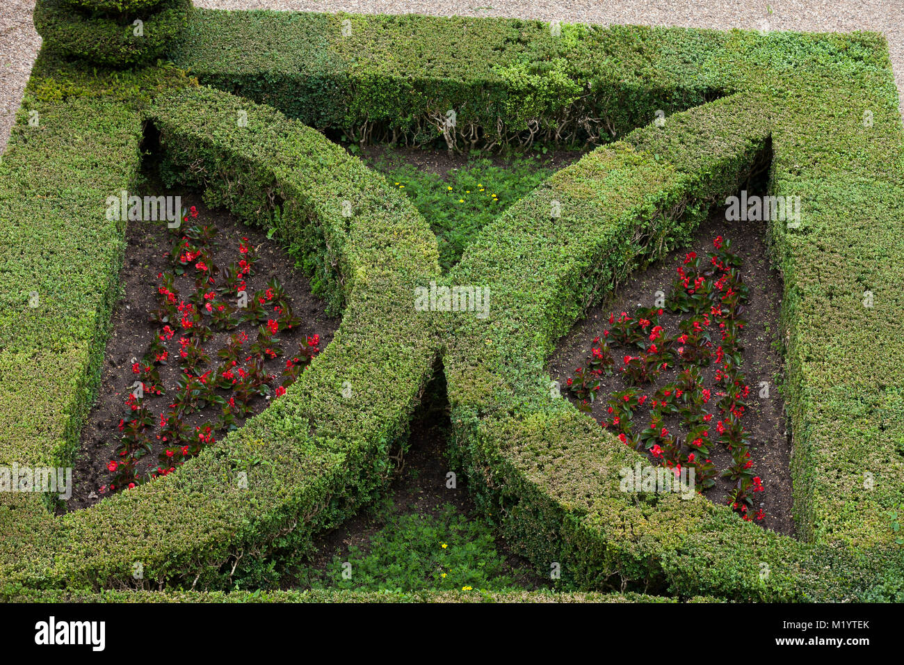Splendid, decorative gardens at Villandry castle in France Stock ...