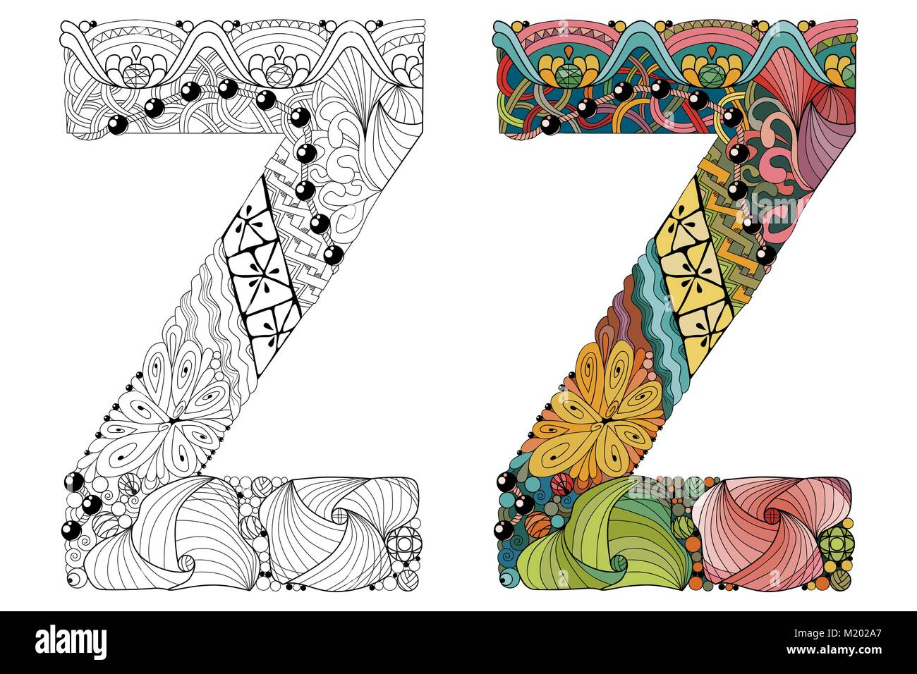 Hand painted art design letter z zentangle objects colored and letter z zentangle objects colored and outline set spiritdancerdesigns Image collections