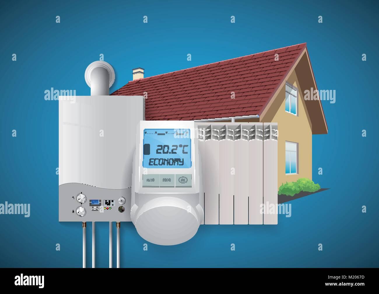 Domestic heating system concept Stock Vector Art & Illustration ...