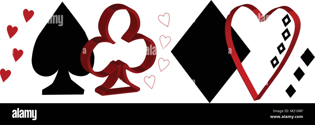 Playing Card Shape Suits For Your Twitter Cover Photo Stock Vector