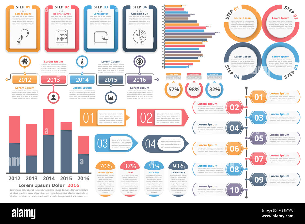 infographic elements objects with numbers and text bar graphs