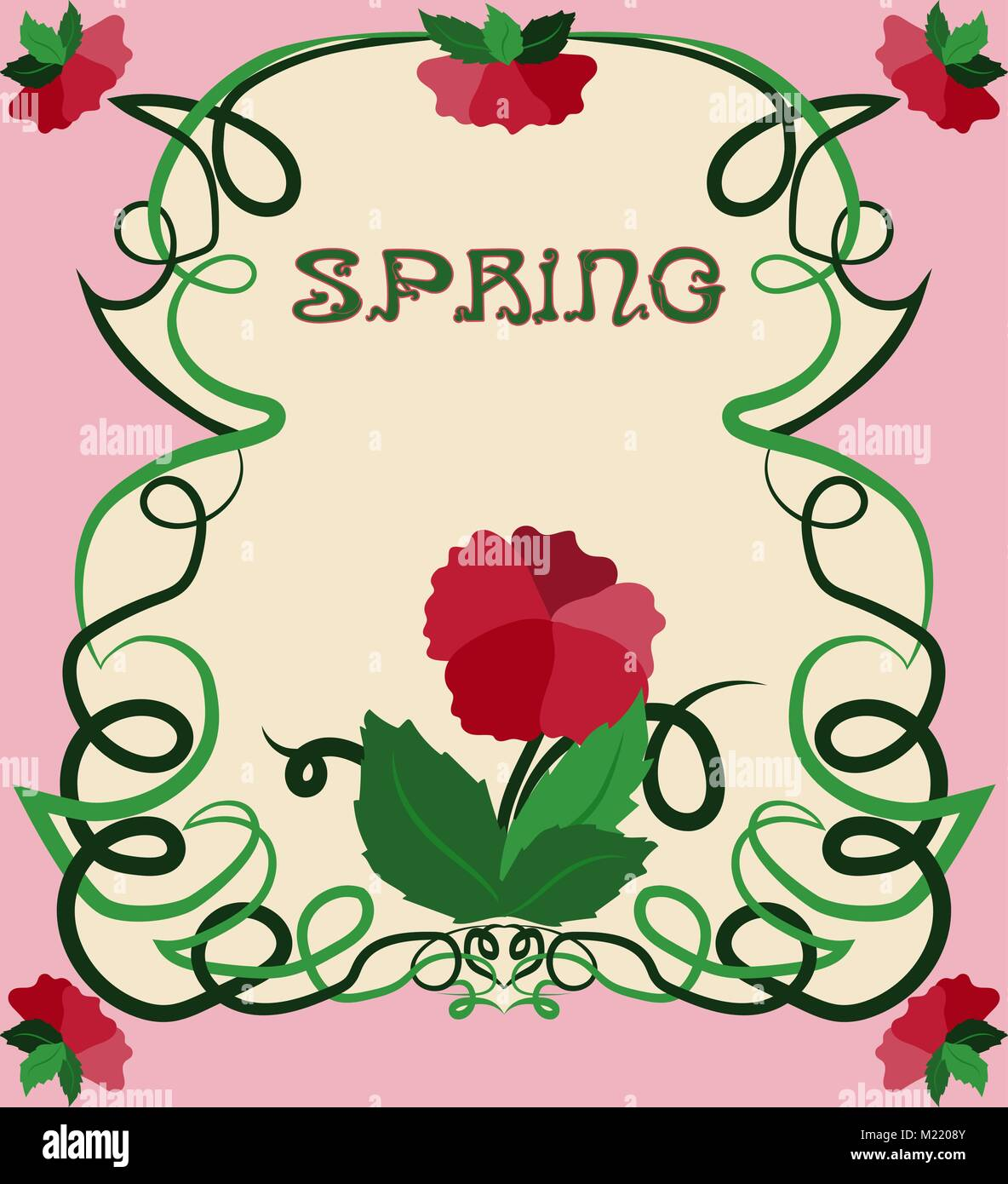 Spring floral card in art nouveau style, vector illustration Stock ...