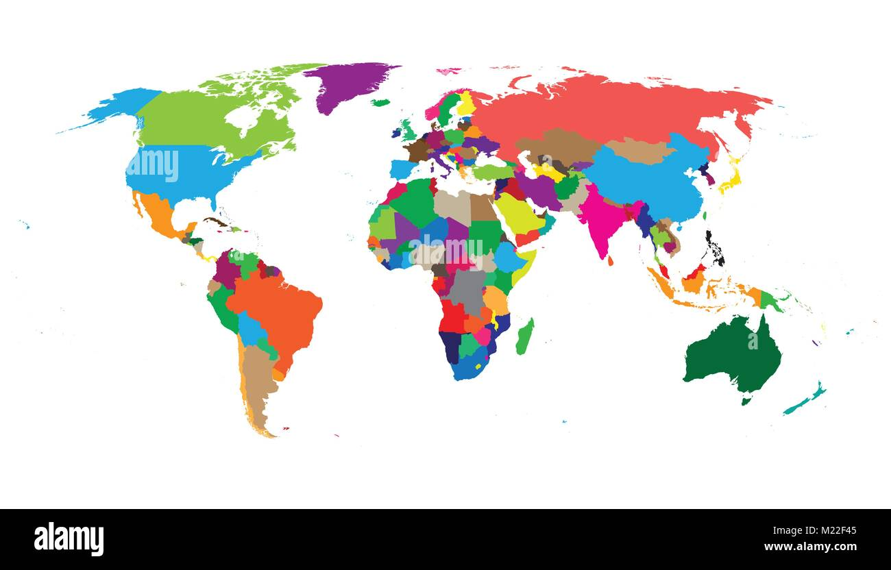 Blank colorful political world map isolated on white background blank colorful political world map isolated on white background world map vector template for website infographics design flat earth world map ill gumiabroncs Gallery