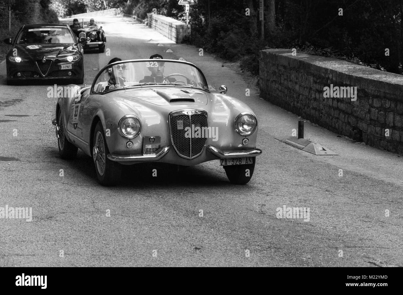 LANCIA AURELIA B24 SPIDER 1955 on an old racing car in rally Mille ...