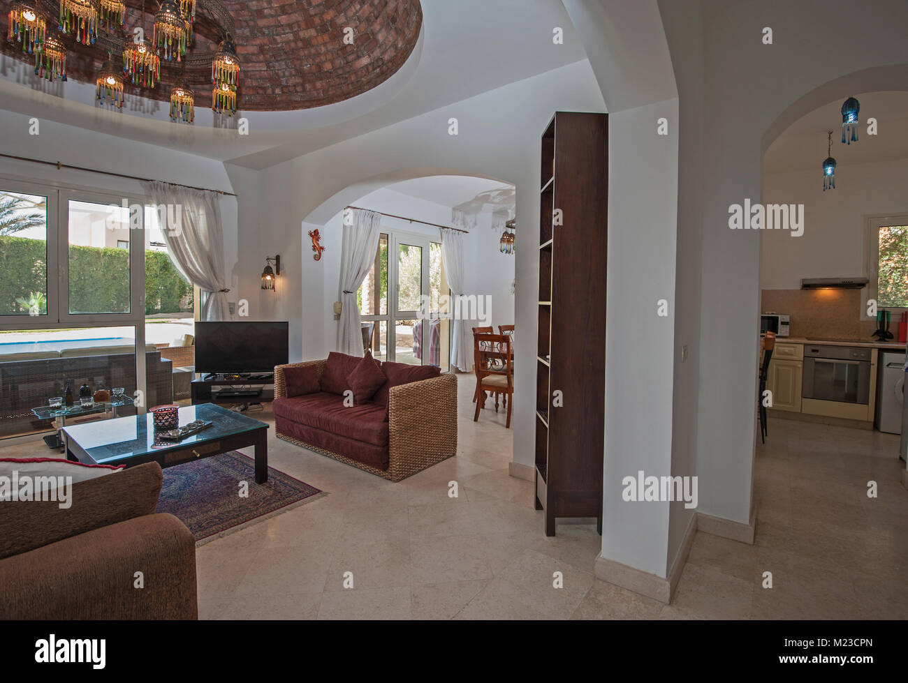 Living room lounge in luxury villa show home showing interior design ...