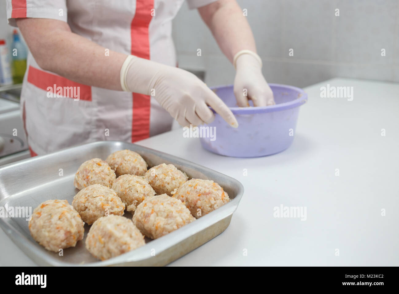 Women S Hands Make Meatballs Or Lazy Cabbage Rolls Raw Minced Meat