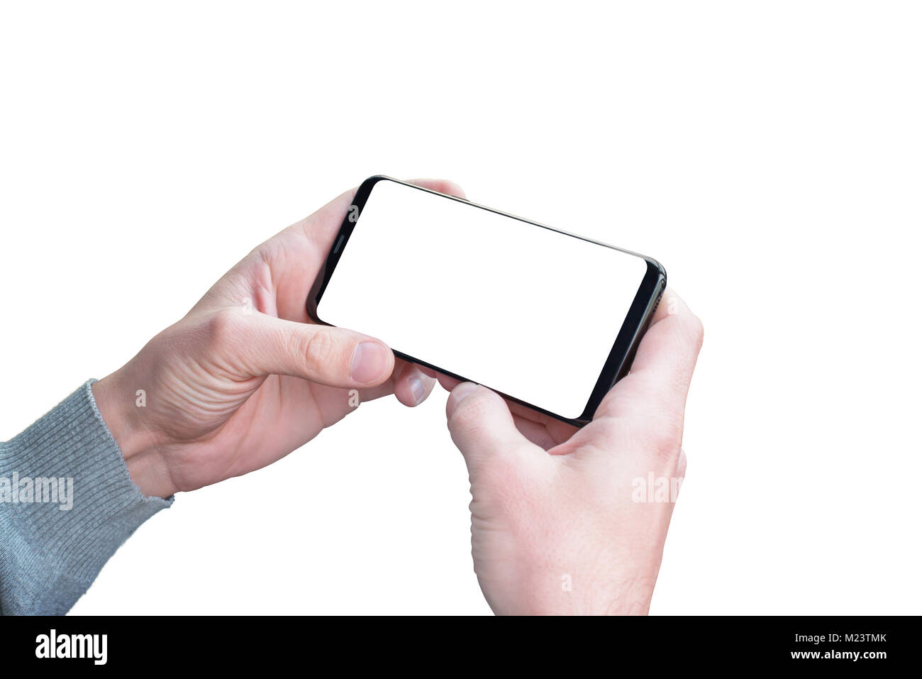 isolated hands and mobile phone in horizontal position for mockup
