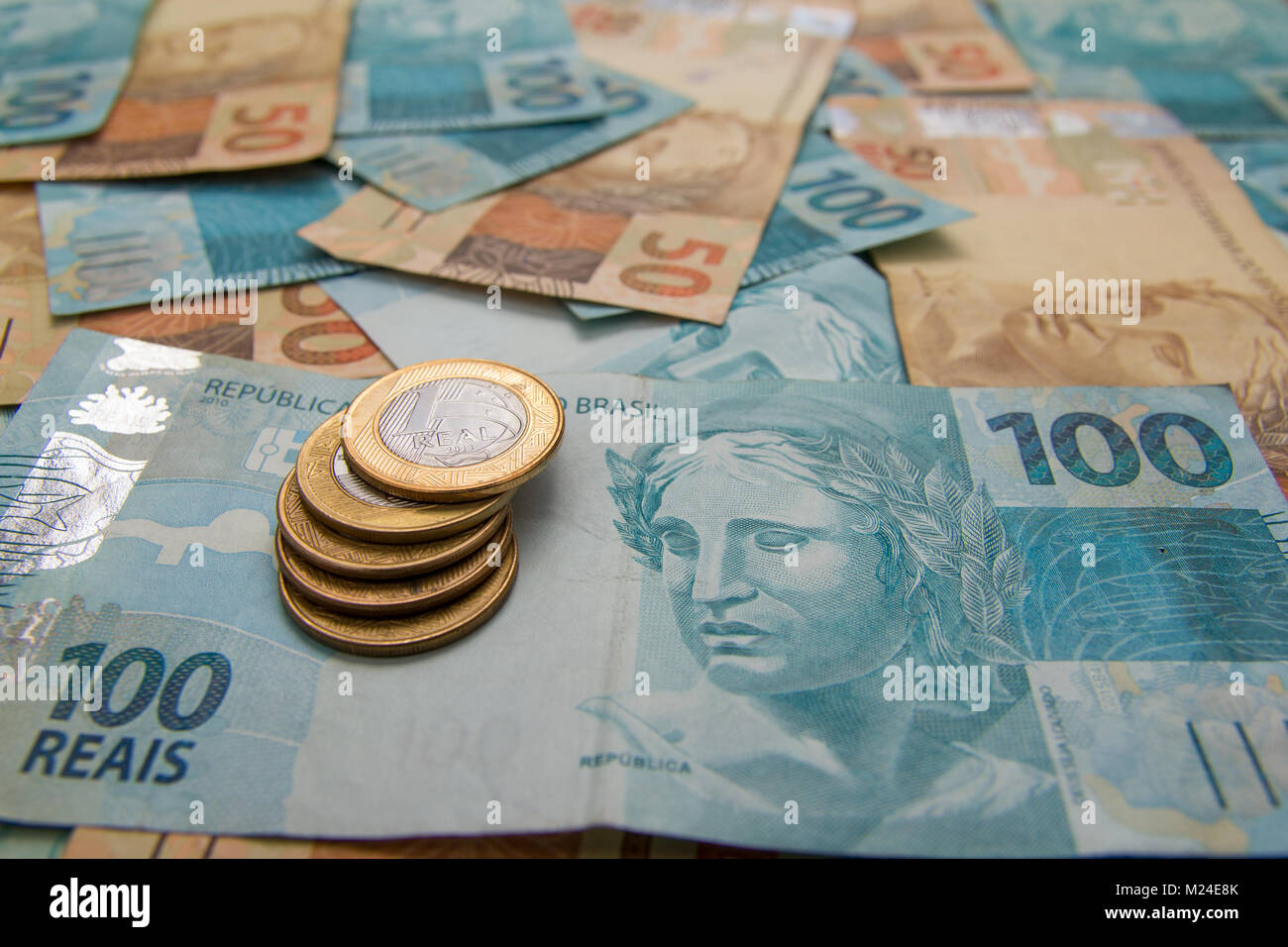 Brazilian currency stock photos brazilian currency stock images notes of real brazilian currency concept of finance investment buycottarizona Images