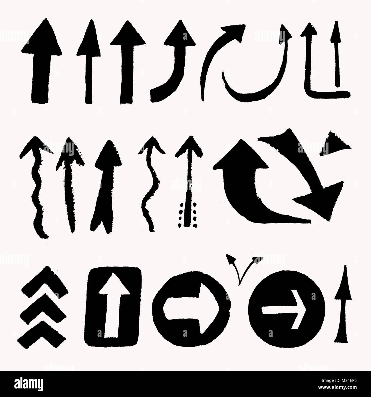 A Collection Of Silhouettes Of Arrows Isolated Signs Indicating The