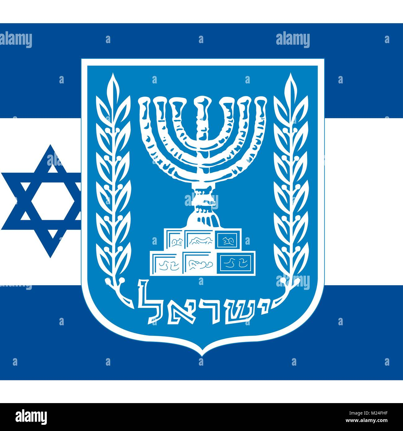 Israel coat of arms and flag official symbols of the nation stock israel coat of arms and flag official symbols of the nation buycottarizona Images