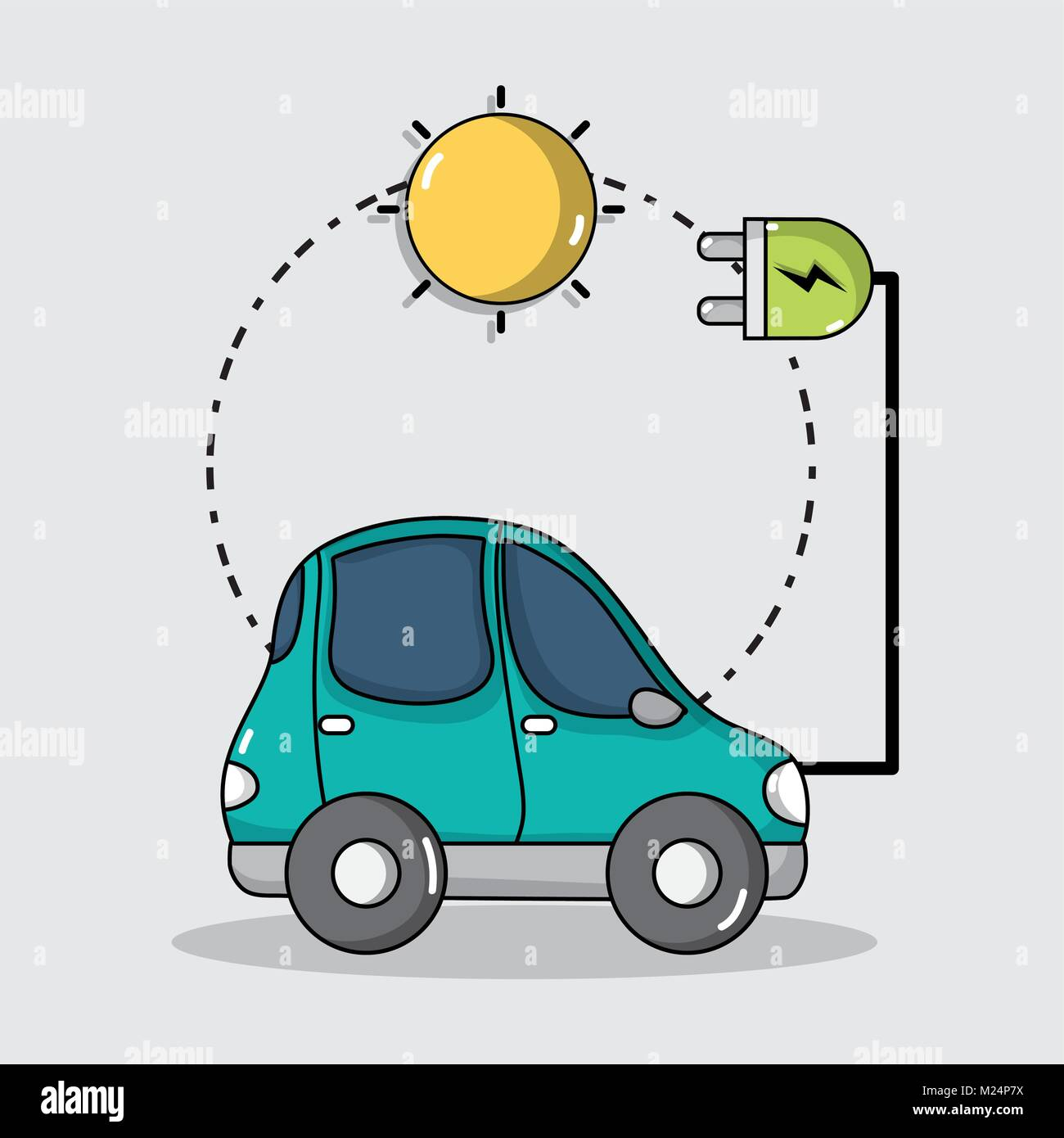 electric car technology with solar energy connection Stock Vector ...