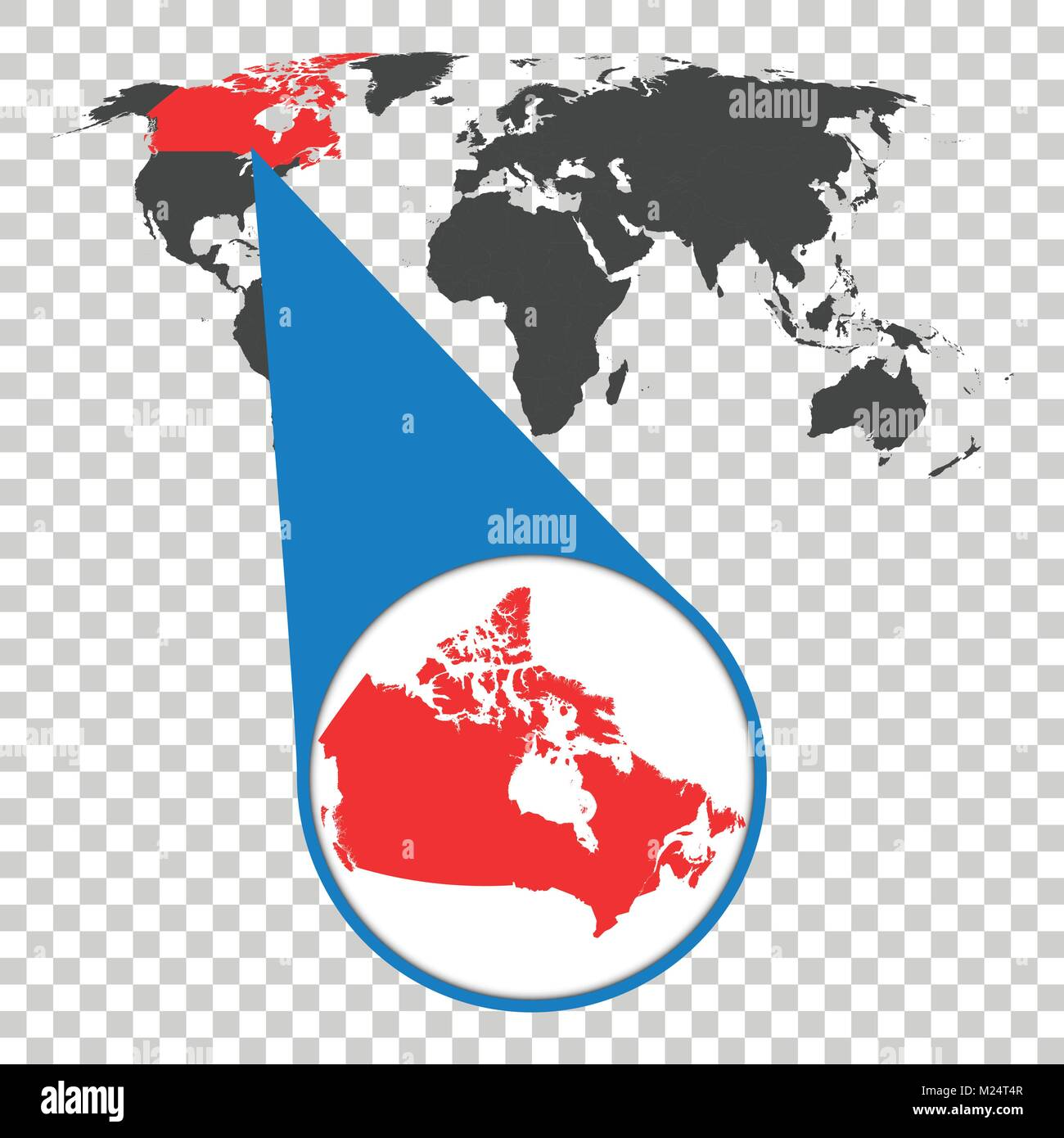 World map with zoom on canada map in loupe vector illustration world map with zoom on canada map in loupe vector illustration in flat style gumiabroncs Images