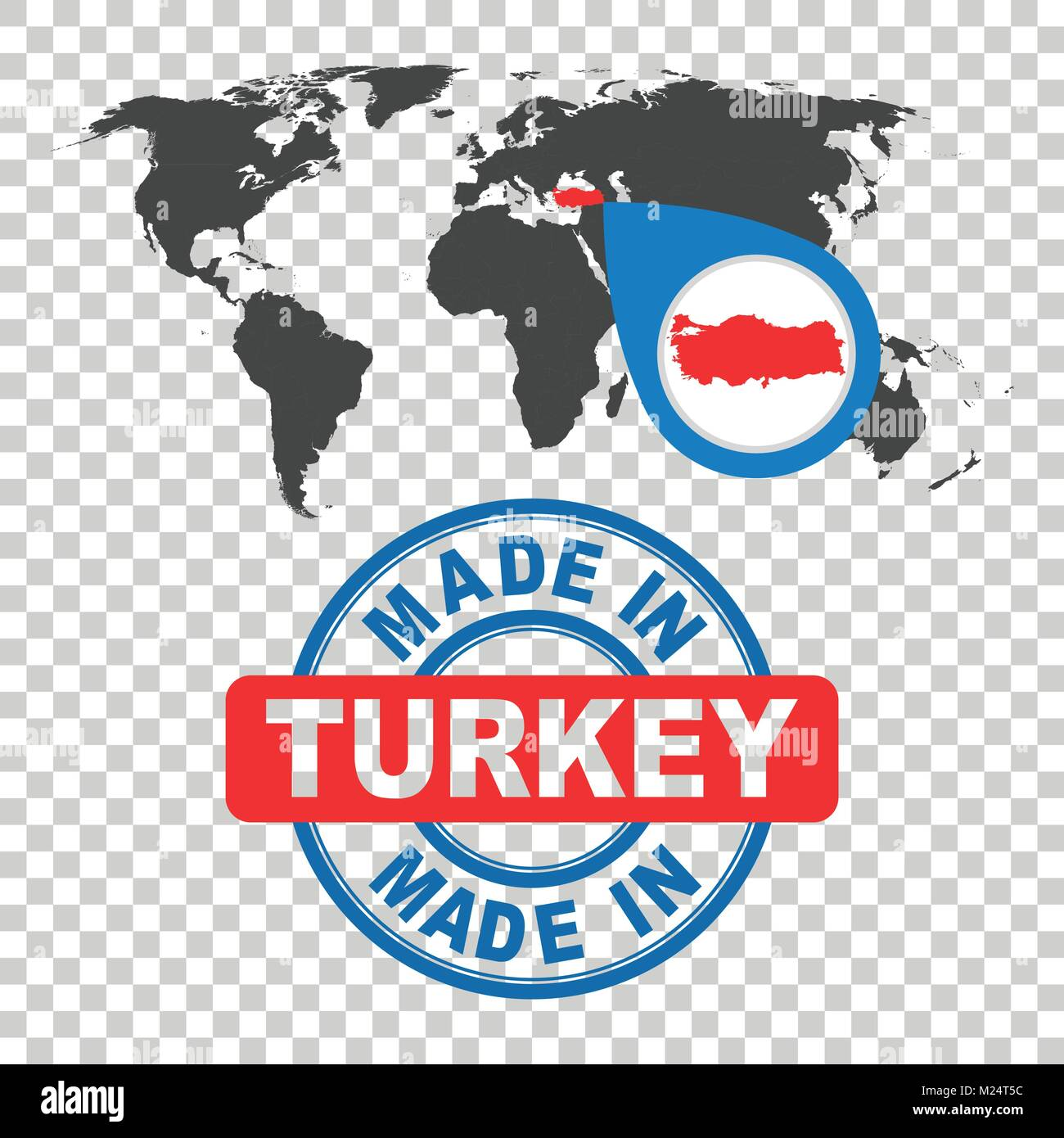 Made in turkey stamp world map with red country vector emblem in world map with red country vector emblem in flat style on isolated background gumiabroncs Choice Image