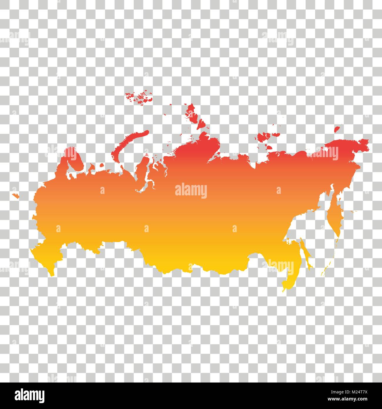 Russia, Russian Federation map. Colorful orange vector illustration ...