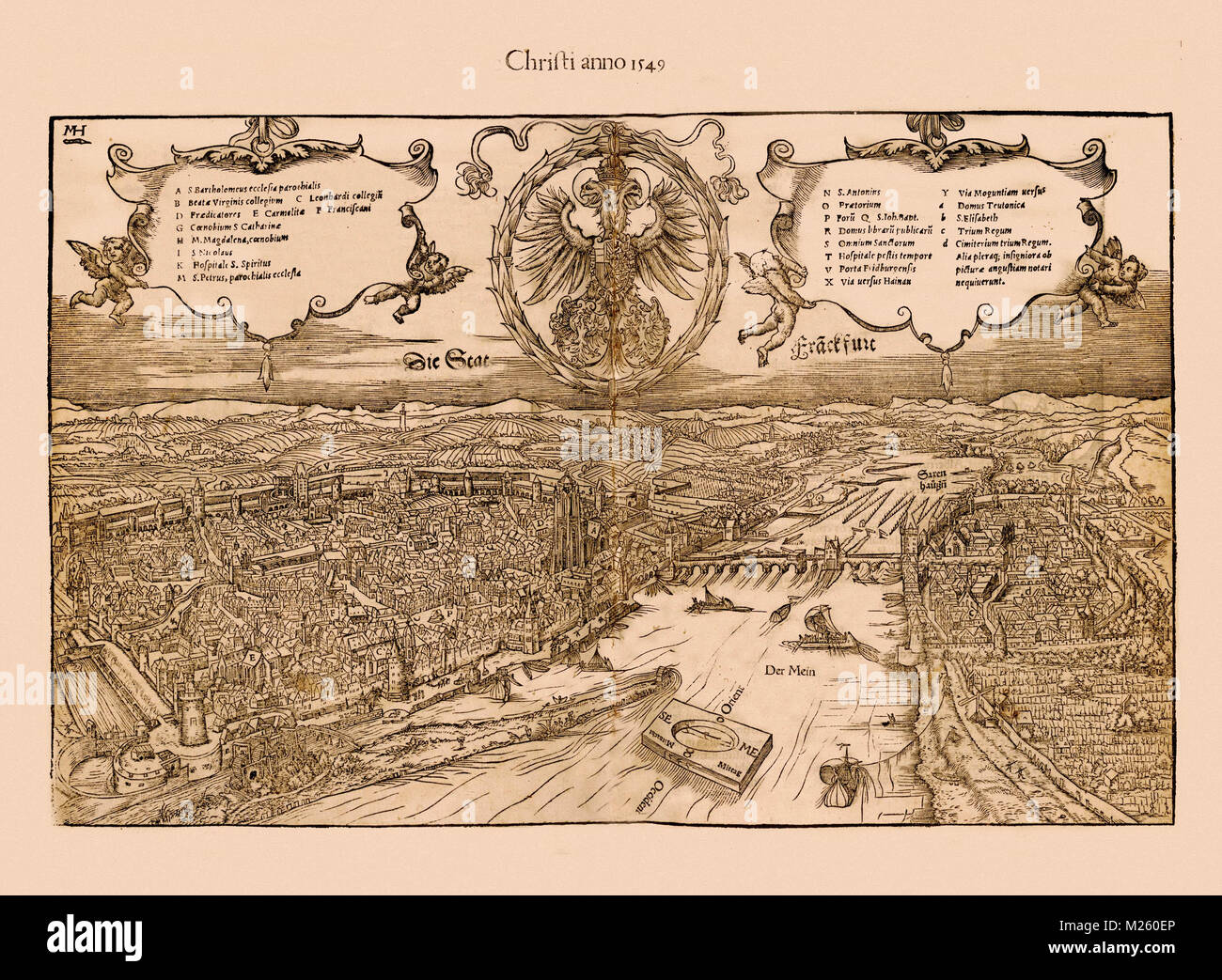 Historical map of Frankfurt, Germany circa 1549 Stock Photo ...