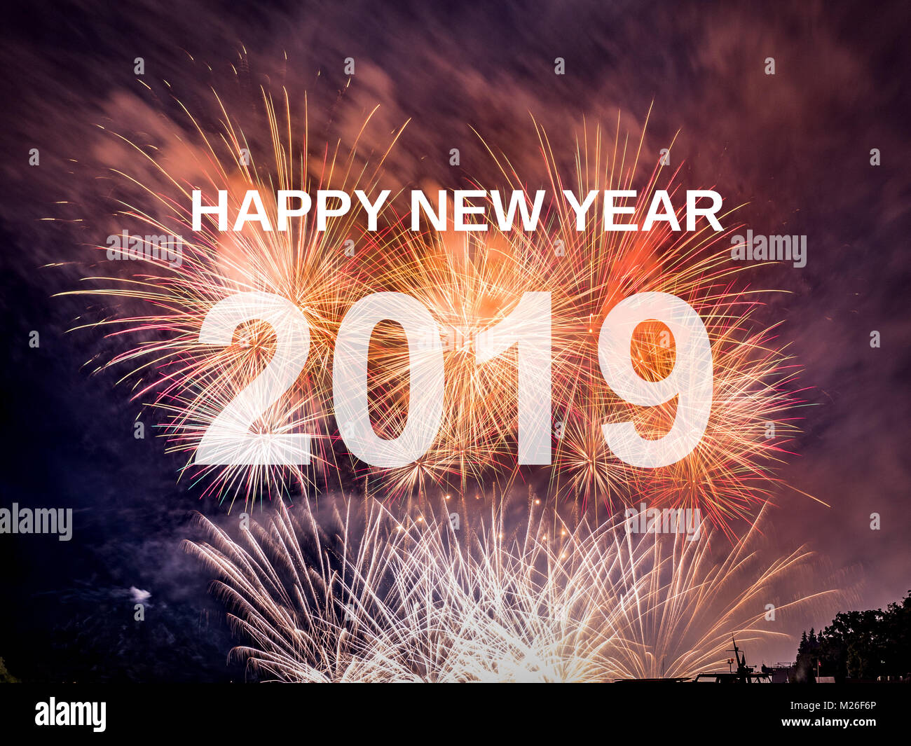happy new year 2019 with fireworks background celebration new year 2019